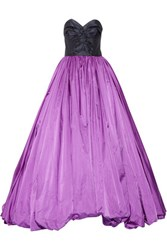 Oscar De La Renta Strapless Silk Satin Gown Purple