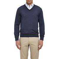 Brunello Cucinelli Men's Tipped V Neck Sweater Navy