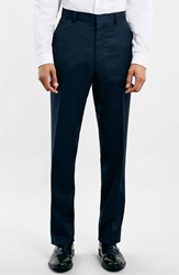 Topman Navy Textured Wool Blend Slim Fit Suit Trousers Dark Blue