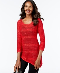 Inc International Concepts Crochet Sequin Asymmetrical Top Only At Macy's Real Red