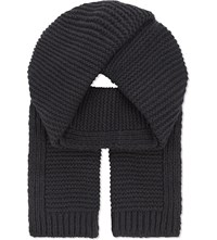 Junya Watanabe Knitted Wool And Cashmere Scarf Gray