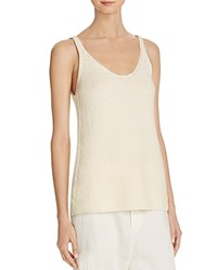 Vince Ribbed Scoop Neck Tank Off White
