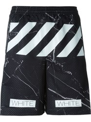 Off White Marble Print Track Shorts Black