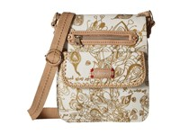 Sakroots Artist Circle Small Flap Messenger Gold Songbird Cross Body Handbags Beige