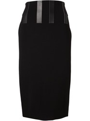 David Koma Stripes Skirt Black