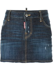 Dsquared2 Low Waist Mini Skirt Blue