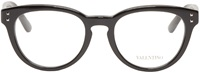 Valentino Black Round Rockstud Optical Glasses