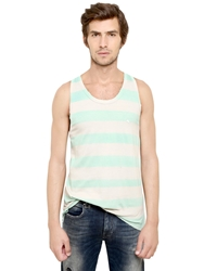 Cycle Striped Cotton Jersey Tank Top Green Beige