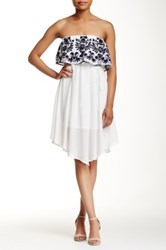 Pink Owl Embroidered Popover Strapless Dress White