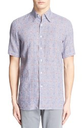 Men's Canali Regular Fit Plaid Dobby Linen Sport Shirt