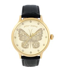 Betsey Johnson Butterfly Patent Leather Strap Watch Black