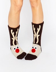 Loungeable Chunky Knit Reindeer Christmas Sock Brown