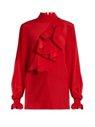 Stella Jean Intendere Ruffled Silk Crepe Blouse Red