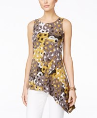 Alfani Petite Printed Asymmetrical Hem Sleeveless Top Only At Macy's Circles Gold