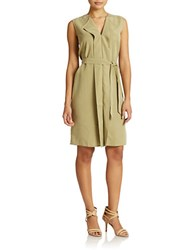 Lord And Taylor Cascade Front Dress Olive Drab