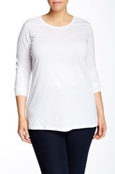 Susina Long Sleeve Soft Crew Tee Plus Size White