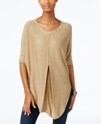 Ny Collection Heather Knit Pleat Front Poncho Top Tan