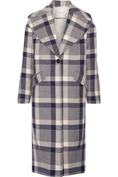 Adam By Adam Lippes Plaid Wool Blend Coat Navy