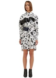 Msgm Face Print Sequin Shirt Dress White