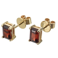 Ewa 9Ct Yellow Gold Garnet Stud Earrings