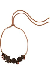 Marni Leather Gold Tone Resin And Crystal Necklace