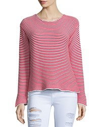 Frame Denim Le Cropped Jewel Neck Striped Top Red Stripe Size S