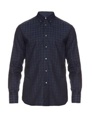 Brioni Navy Check Cotton Shirt Navy Multi