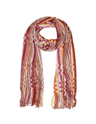 Missoni Zig Zag And Waves Viscose Fringed Stole Red