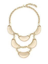 Alexis Bittar Lucite And Crystal Crescent Tiered Bib Necklace Taupe