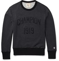 Todd Snyder Champion Embroidered Loopback Cotton Jersey Sweatshirt Gray
