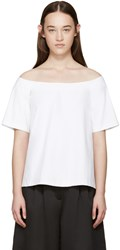 Edit White Poplin Off The Shoulder Top