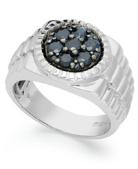 Macy's Men's Sterling Silver Ring Black Sapphire Ring 1 3 8 Ct. T.W.
