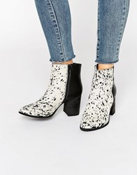 Glamorous Pony Print Leather Heeled Ankle Boots Black Brown Leather Multi