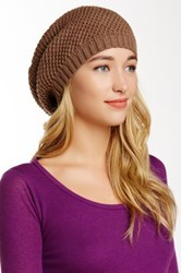Leto Waffle Knit Slouch Beanie Brown