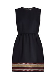 Red Valentino Bambolina Embroidered Twill Dress Navy Multi