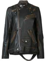 Miharayasuhiro Oversized Leather Jacket Brown