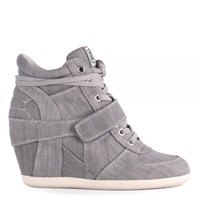 Ash Bowie Denim High Top Wedge Trainers Grey
