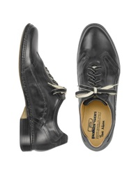 Pakerson Black Italian Handmade Leather Lace Up Shoes