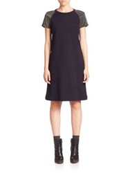 Brunello Cucinelli Wool And Cotton Monili Embellished Shift Dress Navy