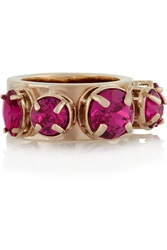 Valentino Gold Tone Crystal Ring Pink