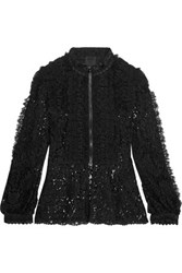 Anna Sui Ruffled Guipure Lace Jacket Black