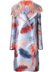 Emilio Pucci Embroidered Dislocated Fastening Coat Blue