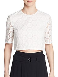 A.L.C. Fremont Polka Dot Eyelet Crop Top White