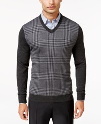 Club Room Men's Big And Tall Merino Wool Houndstooth V Neck Sweater Only At Macy's Ebony Heather