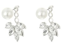 Kenneth Jay Lane Pearl Top W Crystal Silver Drop Post Ear Jacket Earrings Silver Crystal Pearl Earring