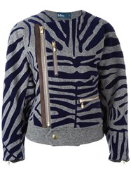 Kolor Zebra Print Biker Jacket Grey