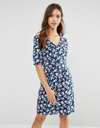 Trollied Dolly Time For Tea Floral Print Dress Navy