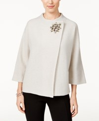 Jm Collection Petite Embellished Asymmetrical Wool Cardigan Only At Macy's New Sierra Sand