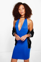 Boohoo Basic Deep Plunge Bodycon Dress Cobalt