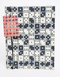 Paperchase Dice Print Leather Journal Multi
